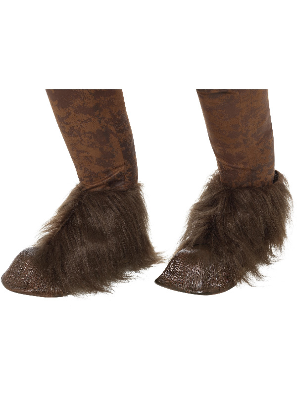Beast / Krampus Demon Hoof Shoe Covers, Brown, Latex, with Fur