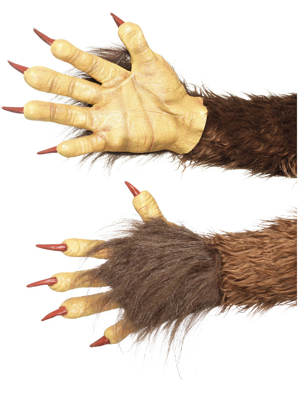 Beast / Krampus Demon Gloves, Brown, Latex, with Fur