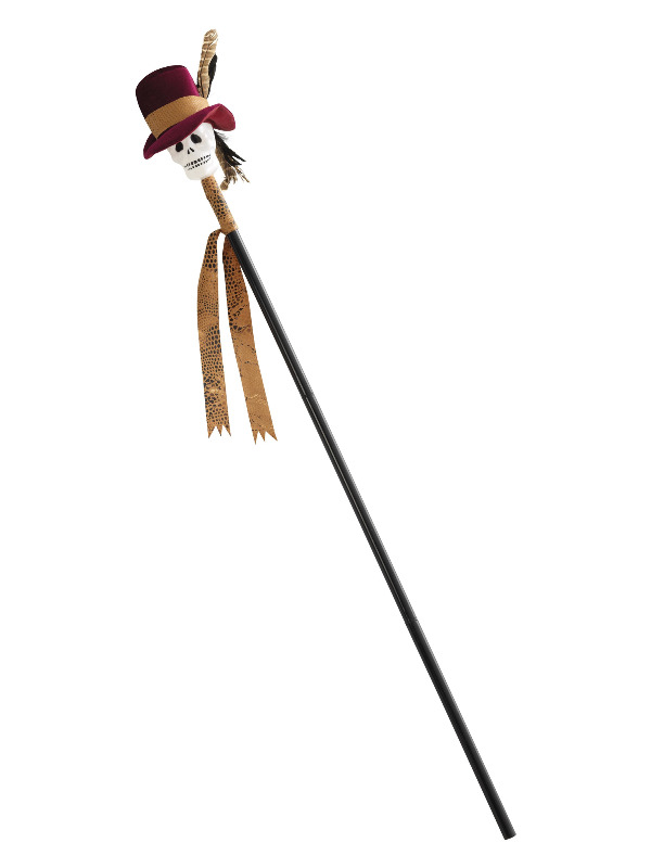 Voodoo Cane, Black, with Skull, 112cm/44in