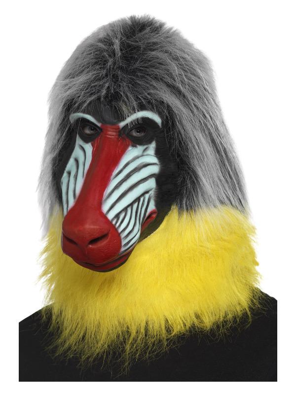 Baboon Mask, Grey, Latex, Full Overhead