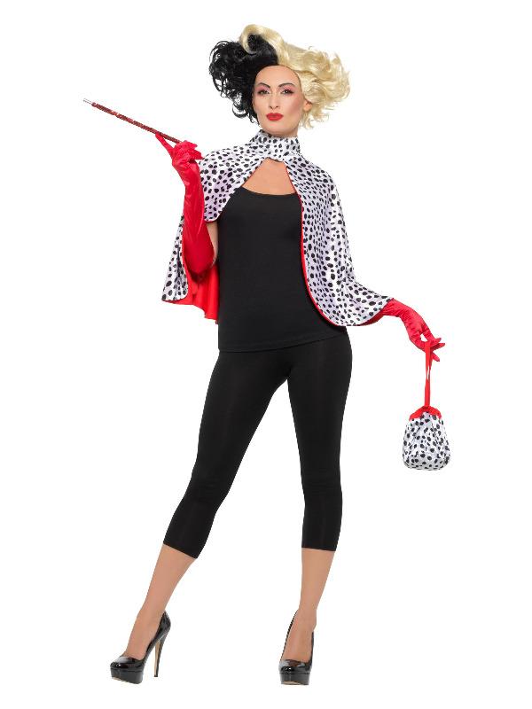 Deluxe Evil Madame Kit, Black & White, with Cape, Bag, Gloves & Cigarette Holder