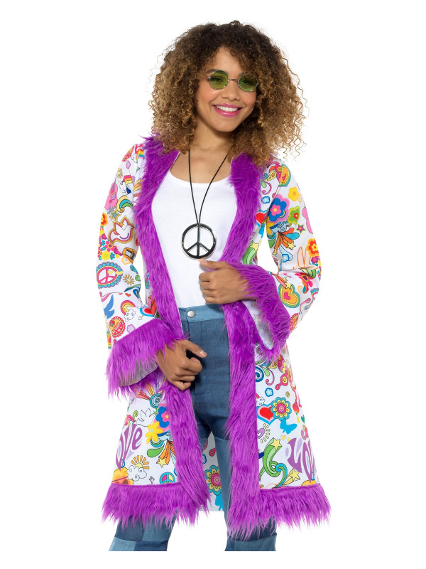 60s Groovy Hippie Coat, Multi-Coloured