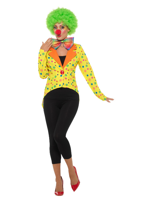 Colourful Clown Tailcoat Jacket, Ladies, Yellow