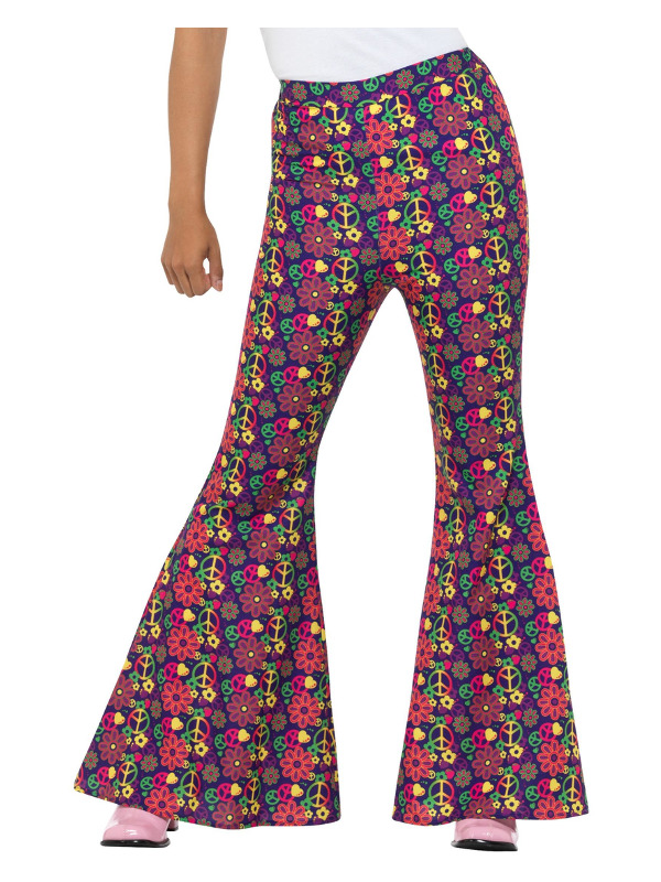 60s Psychedelic CND Flared Trousers, Ladies, Multi