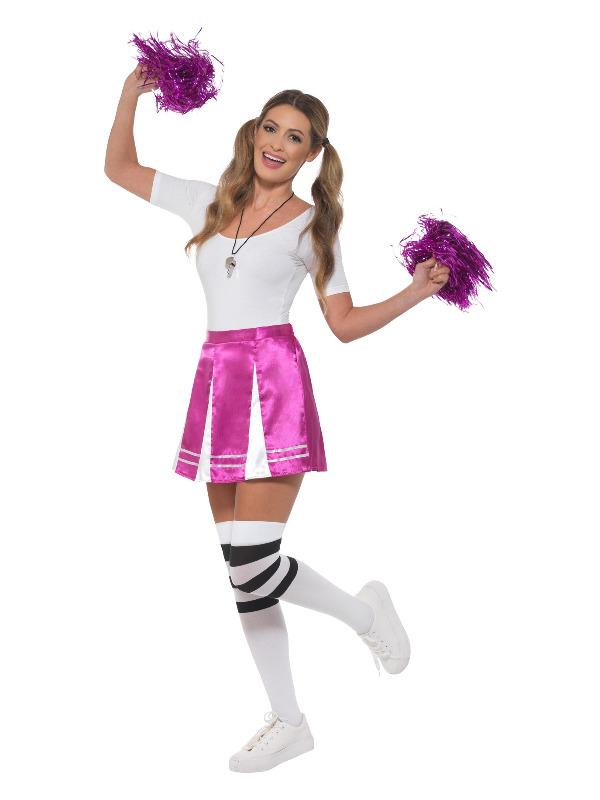 Cheerleader Kit, Pink, with Skirt, Whistle & Pom Poms