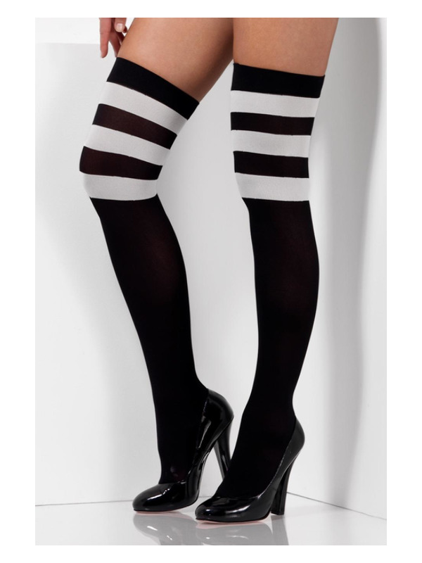Cheerleader Opaque Hold Ups, Black, with White Stripes