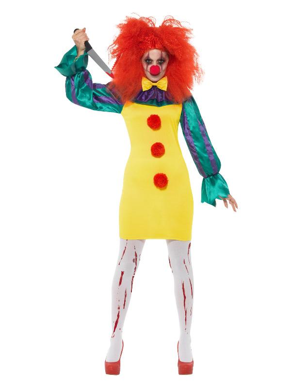 Classic Horror Clown Lady Costume, Multi-Coloured