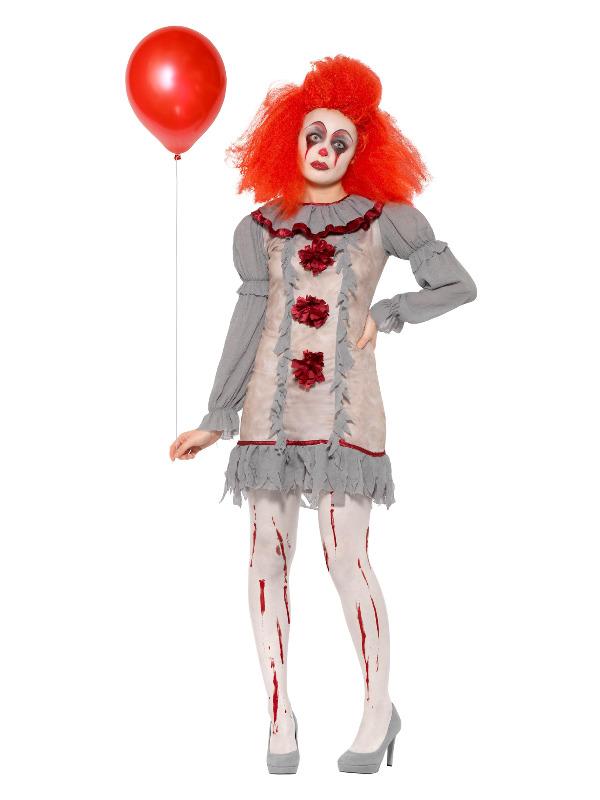 Vintage Clown Lady Costume, Grey & Red