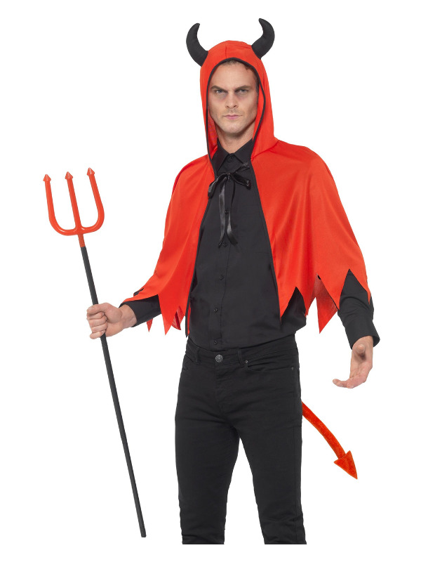 Devil Kit, Red, with Horn Cape, Tail & Detachable Trident, 110cm/43in