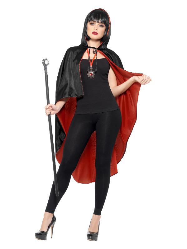 Vampire Kit, Black, with Reversible Cape, Detachable Cane & Metal Medallion