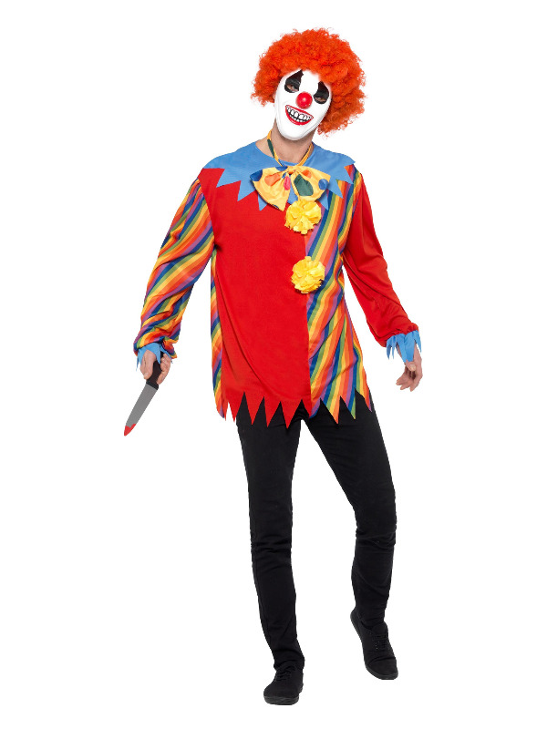 Creepy Clown Kit, Multi-Coloured, with Top, Bow Tie & Mask