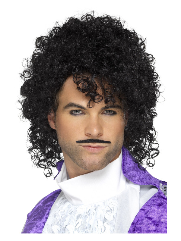 80s Purple Musician Kit, Black, with Wig & Tash