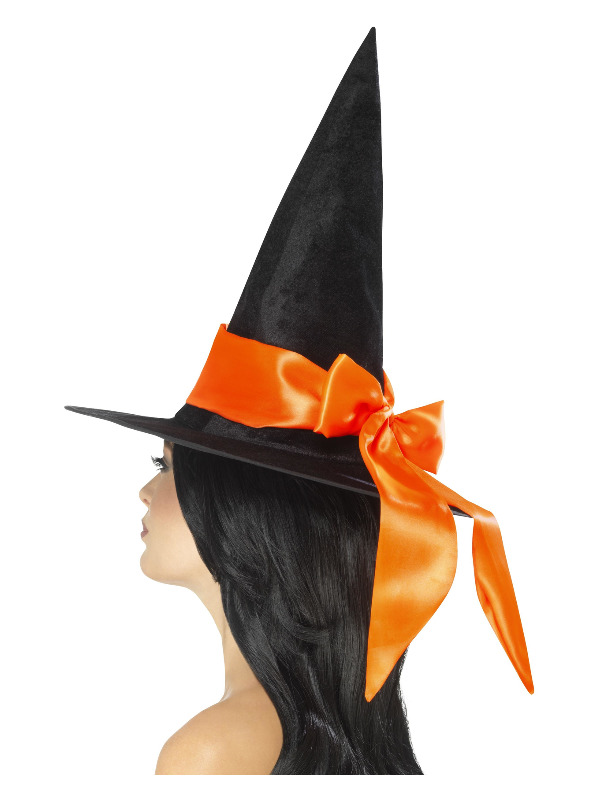 Deluxe Witch Hat, Black, with Orange Bow