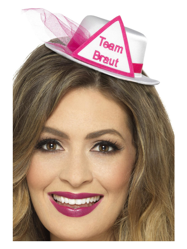Team Braut Hat, White, with Hairclip & Veil