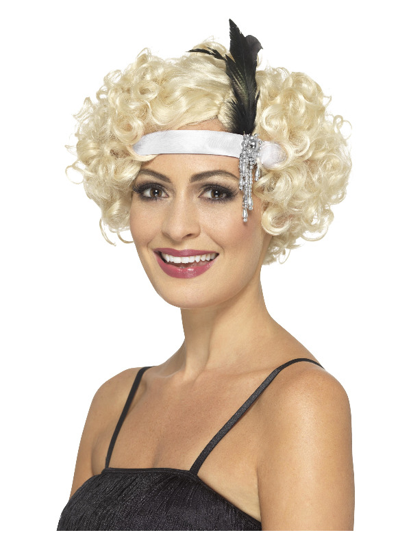 White Satin Charleston Headband, with Feather & Jewel Detail