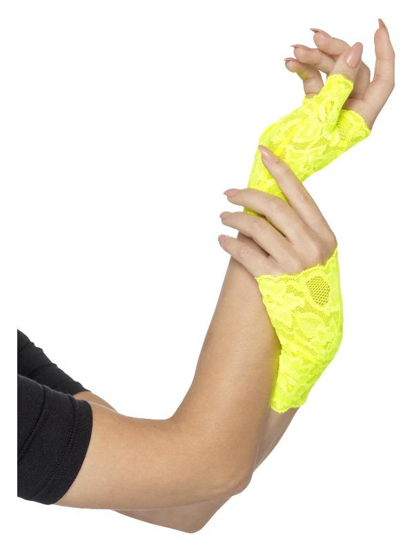 80s Fingerless Lace Gloves, Neon Yellow, Short