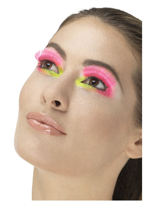 80s Party Eyelashes, Neon Pink, Contains Glue