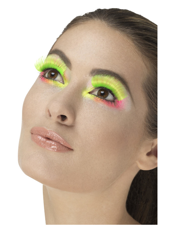 80s Party Eyelashes, Neon Green, Contains Glue