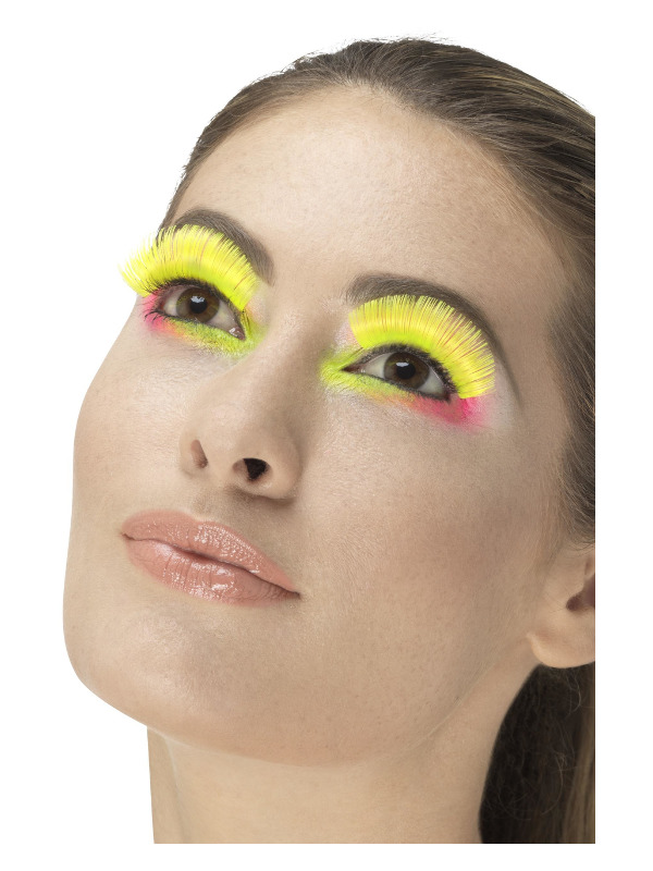 80s Party Eyelashes, Neon Yellow, Contains Glue