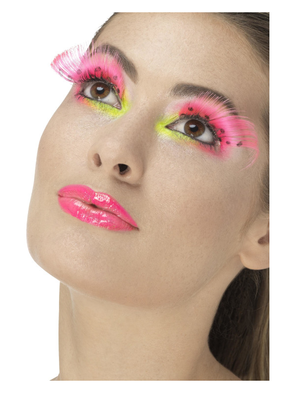 80s Polka Dot Eyelashes, Neon Pink, Contains Glue