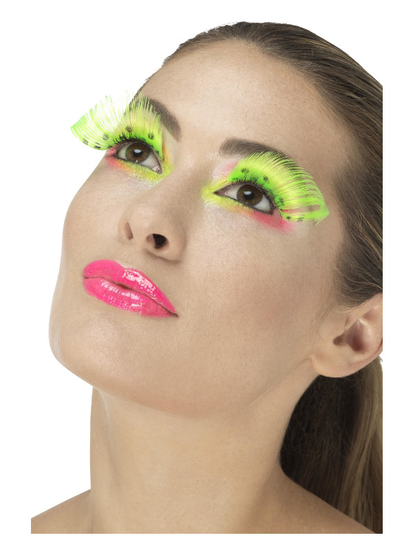 80s Polka Dot Eyelashes, Neon Green, Contains Glue