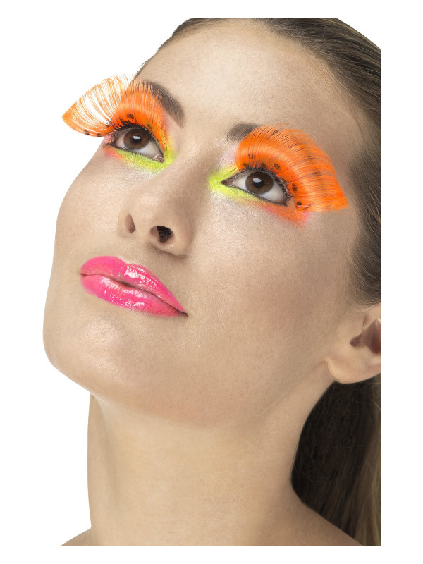 80s Polka Dot Eyelashes, Neon Orange, Contains Glue