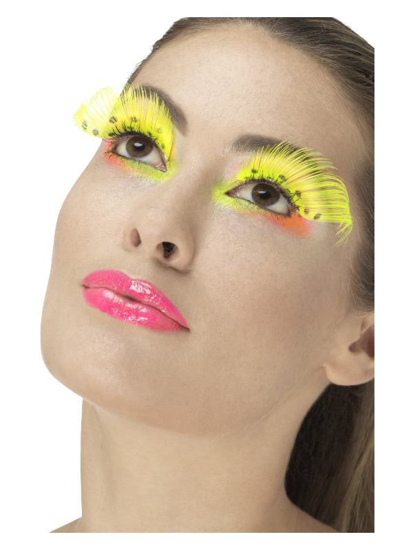 80s Polka Dot Eyelashes, Neon Yellow, Contains Glue