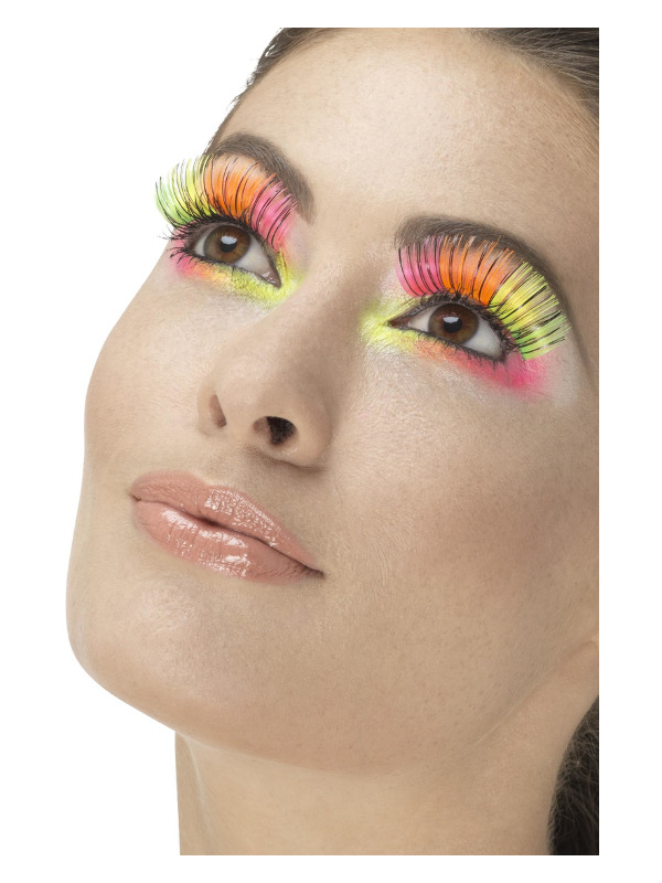 80s Party Eyelashes, Neon, Multi-Coloured with Black Stripe, Contains Glue