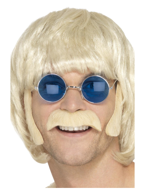 Hippie Disguise Set, Blonde, with Porkchop Sideburns & Moustache, Self Adhesive
