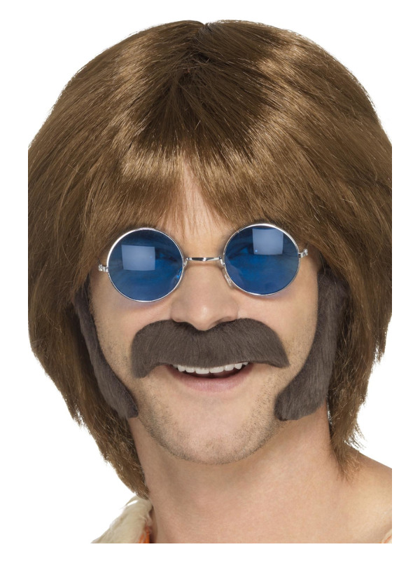 Hippie Disguise Set, Brown, with Porkchop Sideburns & Moustache, Self Adhesive