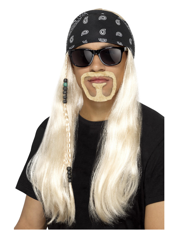 Hard Rocker Kit, Blonde, with Wig, Bandana, Beard & Glasses