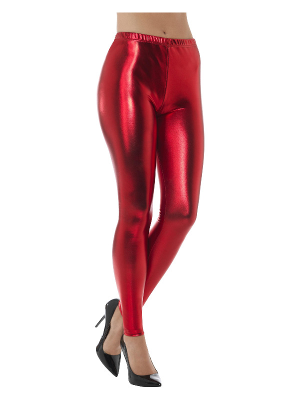 80s Metallic Disco Leggings, Red