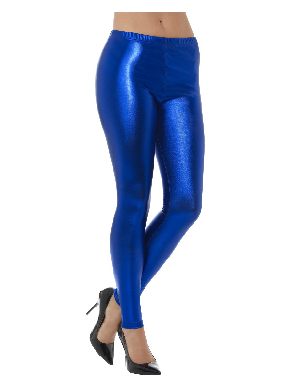 80s Metallic Disco Leggings, Blue
