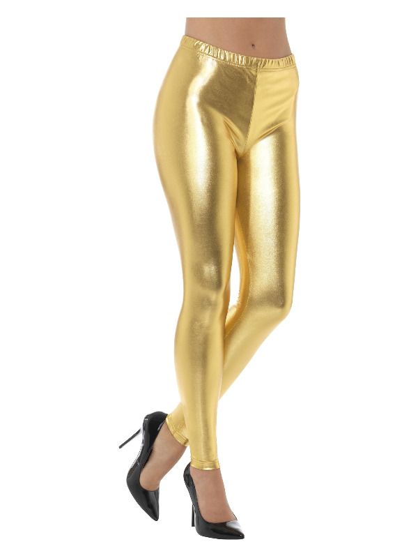 80s Metallic Disco Leggings, Gold