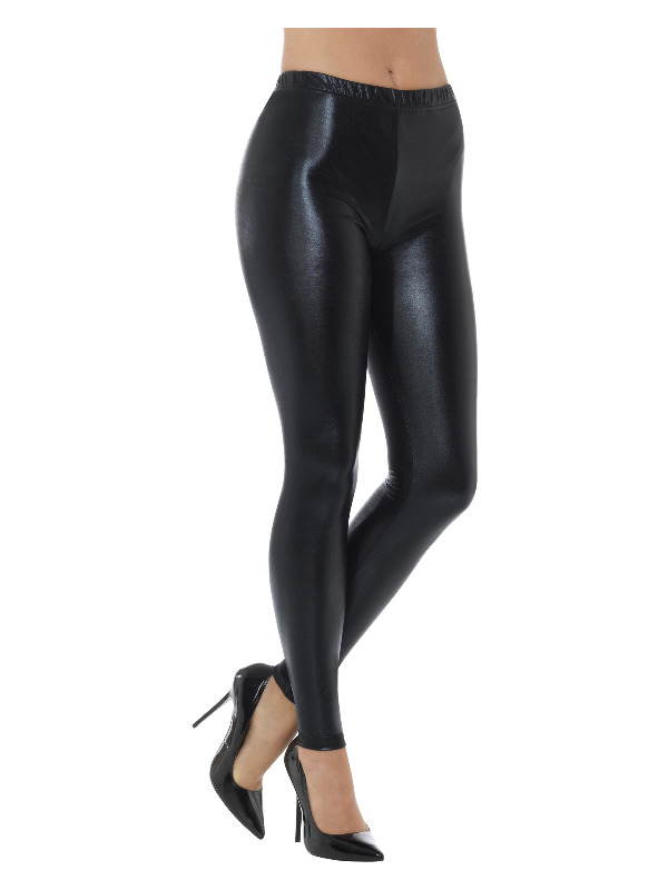 80s Metallic Disco Leggings, Black