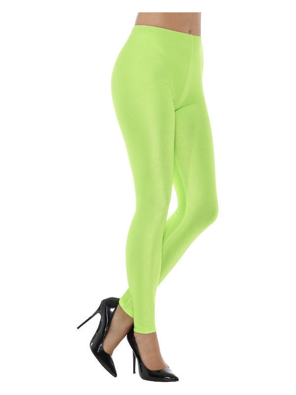80s Disco Spandex Leggings, Neon Green