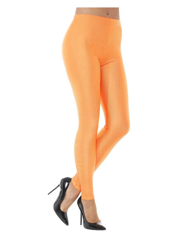 80s Disco Spandex Leggings, Neon Orange