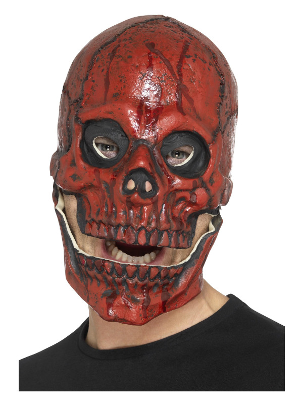 Blood Skull Mask, Red, Foam Latex, Full Overhead, with Separate Moving Jaw