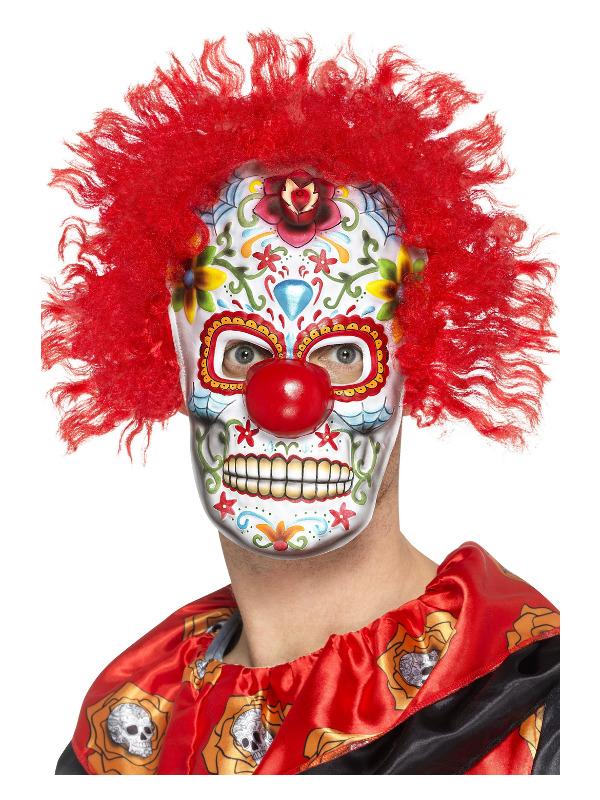 Day of the Dead Clown Mask, Multi-Coloured, EVA