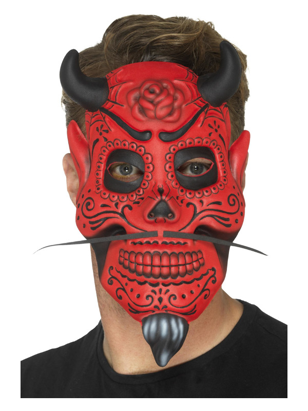 Day of the Dead Devil Mask, Adult, Red, EVA