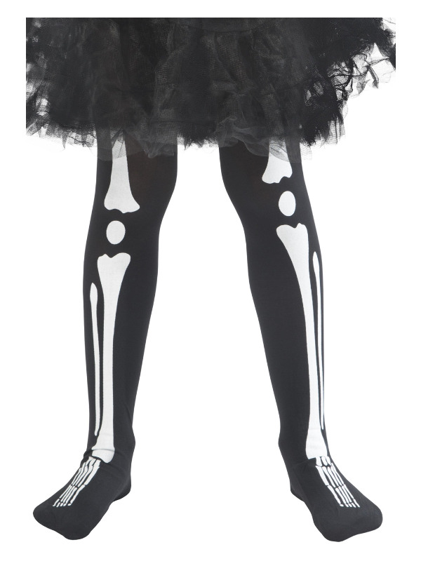 Skeleton Tights, Child, Black, Age 6-12