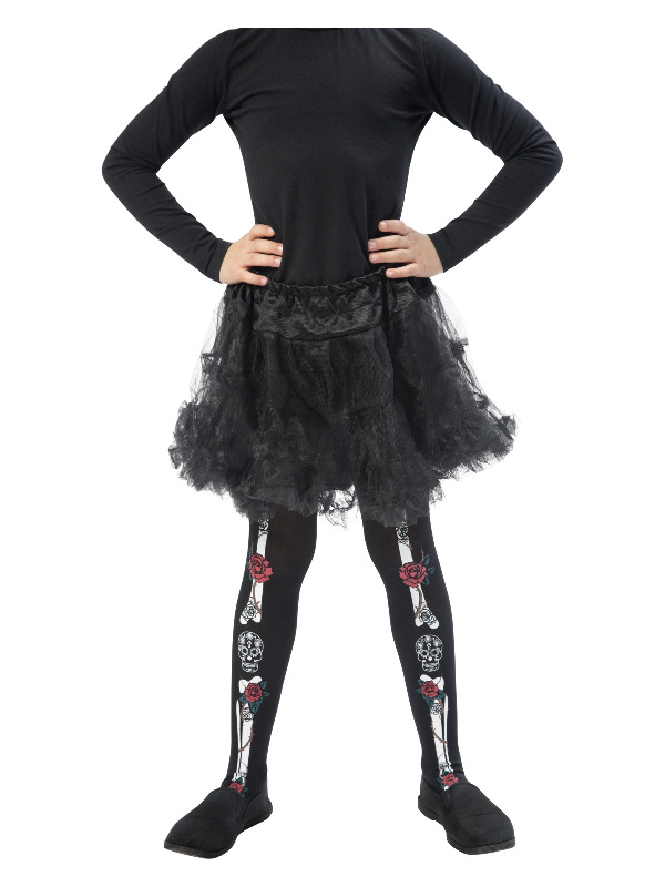 Day of the Dead Tights, Child, Black, Age 6-12