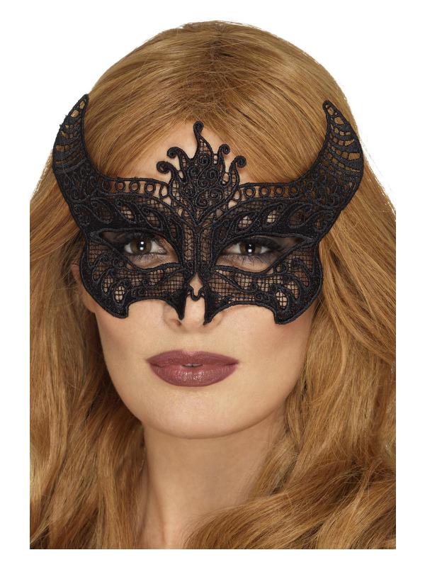 Lace Filigree Devil Mask, Black