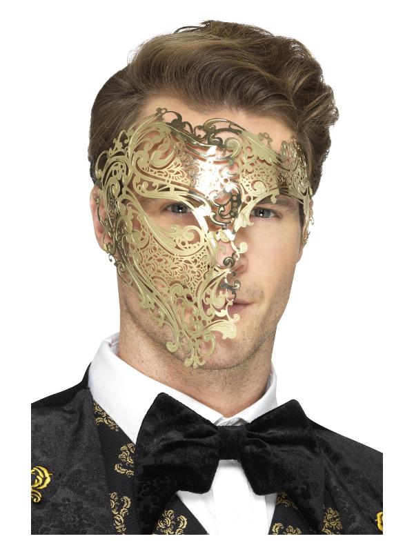 Deluxe Metal Filigree Phantom Mask, Gold