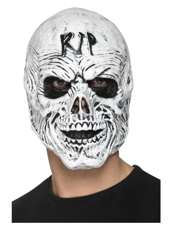 R.I.P Grim Reaper Mask, Foam Latex, White, Full Overhead