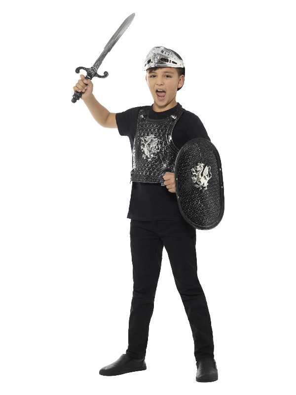 Dark Knight Set, Childs, Black, with Armour, Shield, Helmet & Sword, 50cm/20in