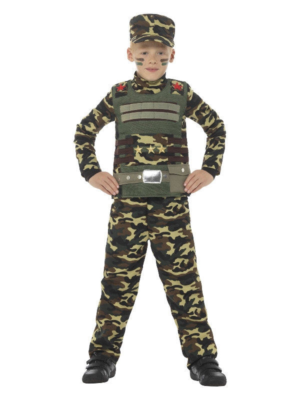 Camouflage Military Boy Costume, Green