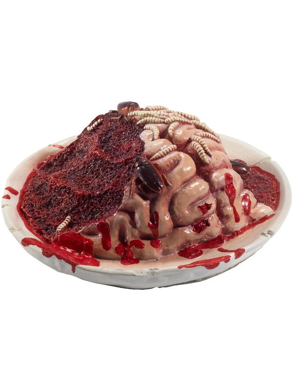 Latex Gory Gourmet Rotting Brain Plate Prop, Red, with Maggots & Cockroaches, 27x27x10cm / 11x11x4in