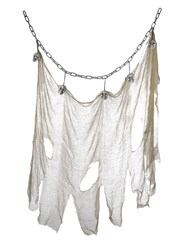 Hanging Skull & Muslin Chain Decoaration, Grey, 140x100cm / 55inchx39inch