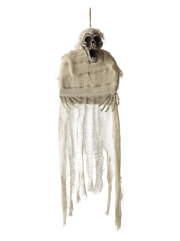 Hanging Mummy Skeleton Decoration, White, with Bandages, 70x90cm / 28inchx35inch